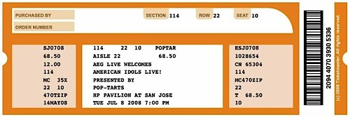 American Idol Concert Ticket