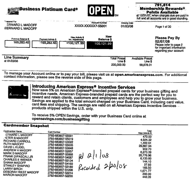 Madoff's Expensive Credit Card Bill