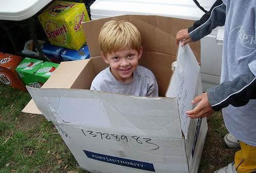 cheap toy: cardboard box