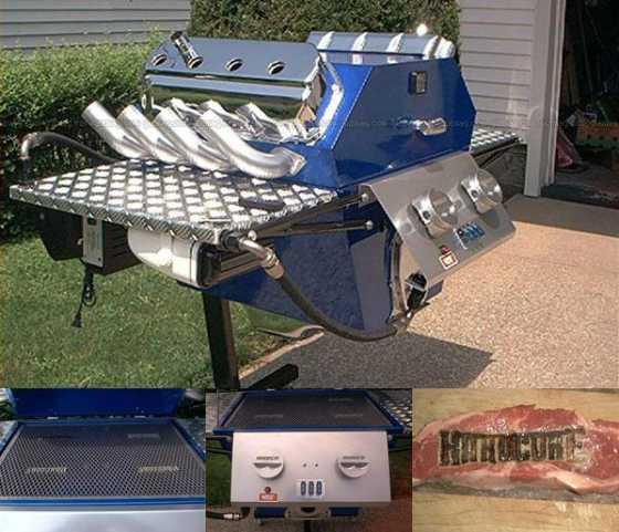 Promotional V8 BBQ that brands the food it cooks