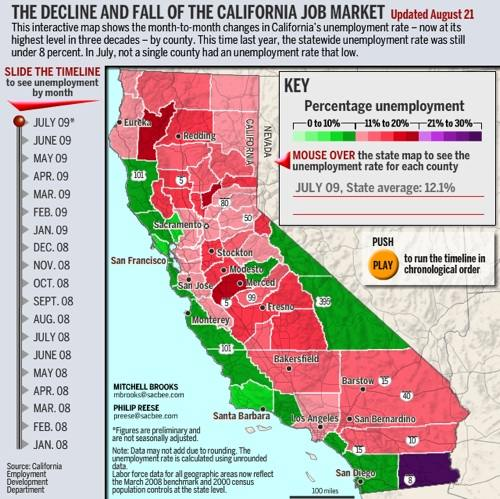 california unemployment map