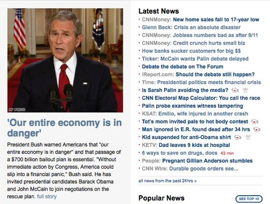 Financial crisis, economic crisis, media, cnn