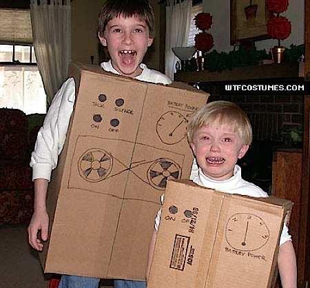 cardboard robots, kid costumes