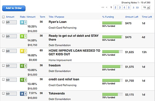 Lending Club Browse Notes Feature