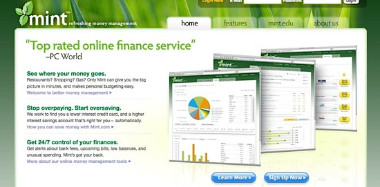 Mint.com, personal finance tool, Web 2.0