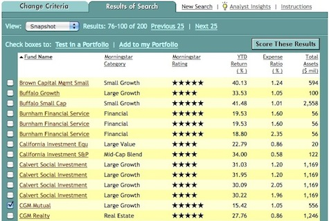 Morningstar mutual fund screener
