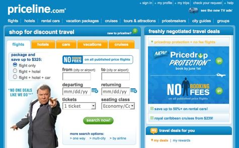 Priceline Home Page