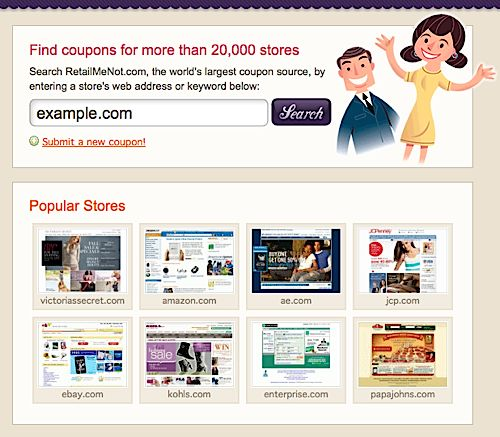 retail coupon sites, online shopping