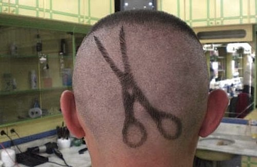 funny haircut (scissors haircut)