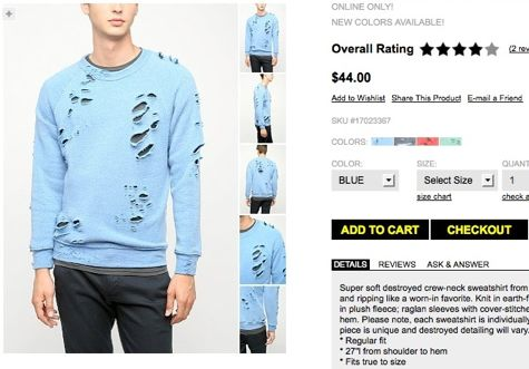 urban outfitters destroyed sweatshirt